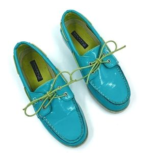Sperry Patent Teal Loafers / Boat Shoes Sz 6.5